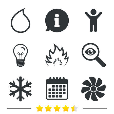 water supply: HVAC icons. Heating, ventilating and air conditioning symbols. Water supply. Climate control technology signs. Information, light bulb and calendar icons. Investigate magnifier. Vector