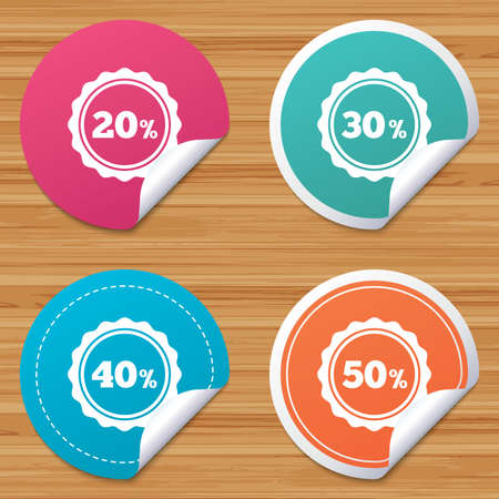 bended: Round stickers or website banners. Sale discount icons. Special offer stamp price signs. 20, 30, 40 and 50 percent off reduction symbols. Circle badges with bended corner. Vector Illustration