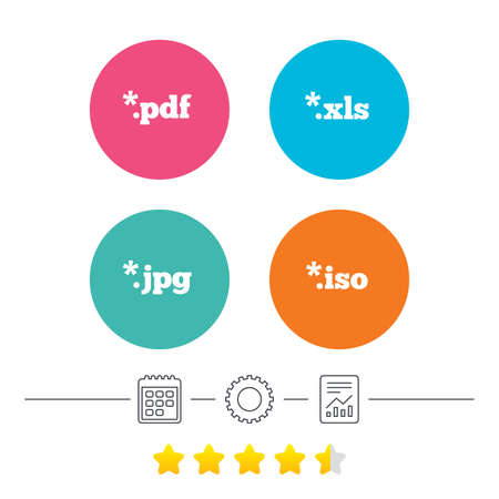 xls: Document icons. File extensions symbols. PDF, XLS, JPG and ISO virtual drive signs. Calendar, cogwheel and report linear icons. Star vote ranking. Vector Illustration