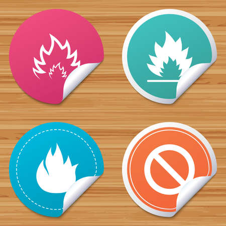 bended: Round stickers or website banners. Fire flame icons. Prohibition stop sign symbol. Circle badges with bended corner. Vector Illustration