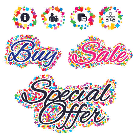 relational: Sale confetti labels and banners. Information sign. Group of people and database symbols. Chat speech bubbles sign. Communication icons. Special offer sticker. Vector