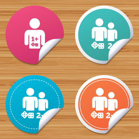 bended: Round stickers or website banners. Gamer icons. Board games players sign symbols. Circle badges with bended corner. Vector