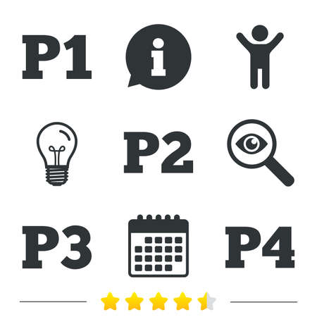 second floor: Car parking icons. First, second, third and four floor signs. P1, P2, P3 and P4 symbols. Information, light bulb and calendar icons. Investigate magnifier. Vector Illustration