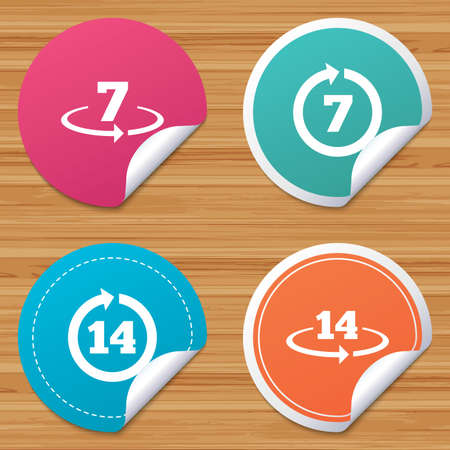 bended: Round stickers or website banners. Return of goods within 7 or 14 days icons. Warranty 2 weeks exchange symbols. Circle badges with bended corner. Vector Illustration