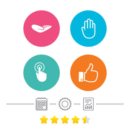 vote here: Hand icons. Like thumb up symbol. Click here press sign. Helping donation hand. Calendar, cogwheel and report linear icons. Star vote ranking. Vector