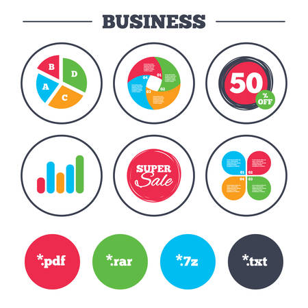 txt: Business pie chart. Growth graph. Document icons. File extensions symbols. PDF, RAR, 7z and TXT signs. Super sale and discount buttons. Vector Illustration
