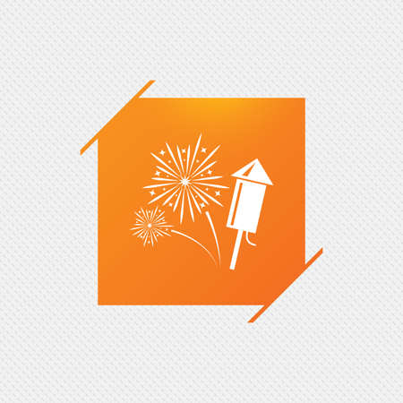 Fireworks with rocket sign icon. Explosive pyrotechnic symbol. Orange square label on pattern. Vector Illustration