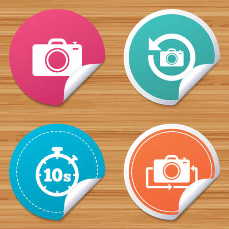 bended: Round stickers or website banners. Photo camera icon. Flip turn or refresh symbols. Stopwatch timer 10 seconds sign. Circle badges with bended corner. Vector