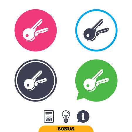 tool unlock: Keys sign icon. Unlock tool symbol. Report document, information sign and light bulb icons. Vector