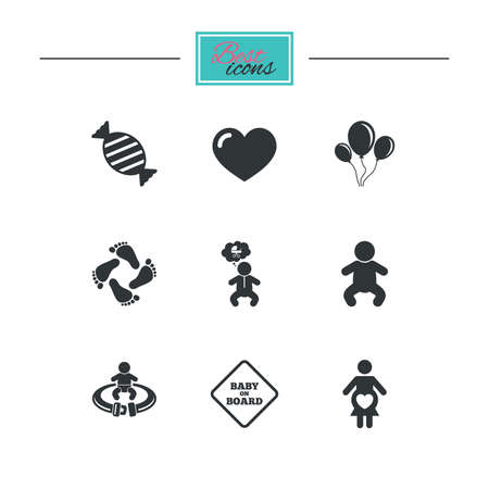 fasten: Pregnancy, maternity and baby care icons. Candy, strollers and fasten seat belt signs. Footprint, love and balloon symbols. Black flat icons. Classic design. Vector