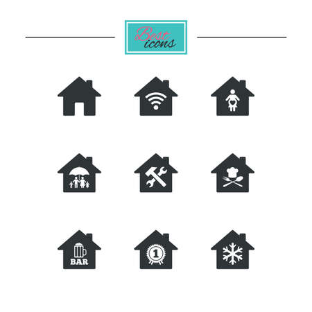 air hammer: Real estate icons. Home insurance, maternity hospital and wifi internet signs. Restaurant, service and air conditioning symbols. Black flat icons. Classic design. Vector