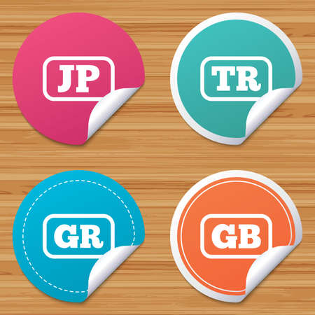 tr: Round stickers or website banners. Language icons. JP, TR, GR and GB translation symbols. Japan, Turkey, Greece and England languages. Circle badges with bended corner. Vector