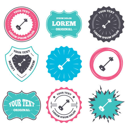 tool unlock: Label and badge templates. Key sign icon. Unlock tool symbol. Retro style banners, emblems. Vector