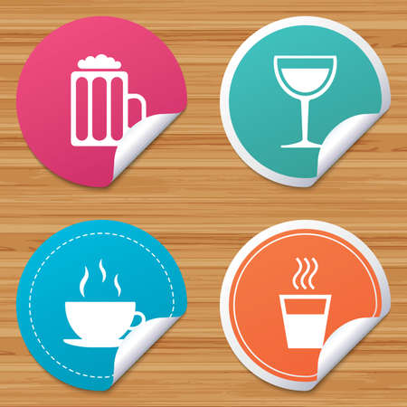 bended: Round stickers or website banners. Drinks icons. Coffee cup and glass of beer symbols. Wine glass sign. Circle badges with bended corner. Vector Illustration