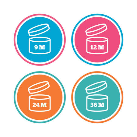 expiration date: After opening use icons. Expiration date 9-36 months of product signs symbols. Shelf life of grocery item. Colored circle buttons. Vector Illustration