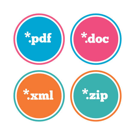 algorithms: Document icons. File extensions symbols. PDF, ZIP zipped, XML and DOC signs. Colored circle buttons. Vector