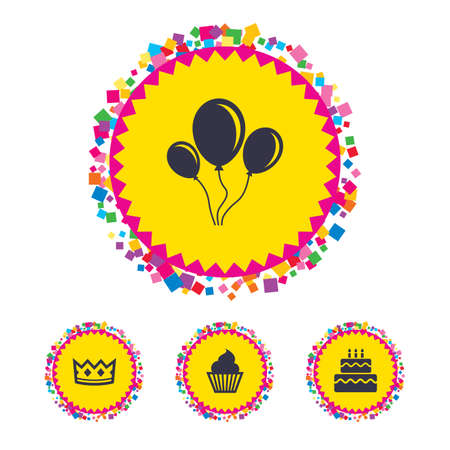 Web buttons with confetti pieces. Birthday crown party icons. Cake and cupcake signs. Air balloons with rope symbol. Bright stylish design. Vector Illustration
