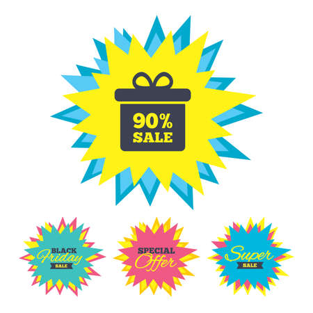 Sale stickers and banners. 90% sale gift box tag sign icon. Discount symbol. Special offer label. Star labels. Vector