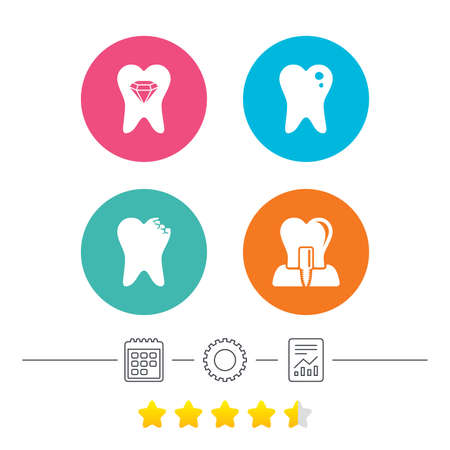 Dental care icons. Caries tooth sign. Tooth endosseous implant symbol. Tooth crystal jewellery. Calendar, cogwheel and report linear icons. Star vote ranking. Vector