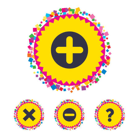 Web buttons with confetti pieces. Plus and minus icons. Delete and question FAQ mark signs. Enlarge zoom symbol. Bright stylish design. Vector Illustration