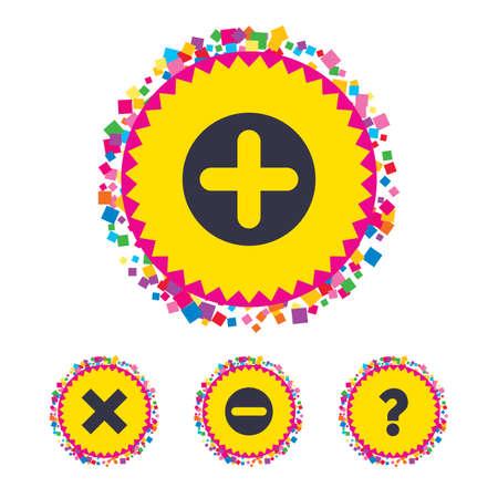 Web knoppen met confetti stukken. Plus en min iconen. Verwijder en vraag FAQ teken borden. Vergroten zoom symbool. Bright stijlvol design. Vector