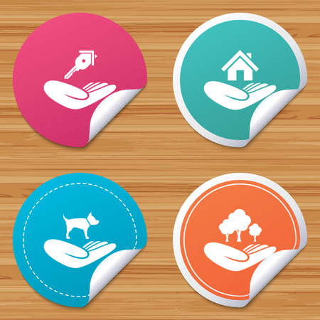 animal welfare: Round stickers or website banners. Helping hands icons. Shelter for dogs symbol. Home house or real estate and key signs. Save nature forest. Circle badges with bended corner. Vector