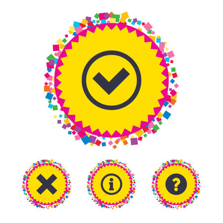 confirm: Web buttons with confetti pieces. Information icons. Delete and question FAQ mark signs. Approved check mark symbol. Bright stylish design. Vector Illustration