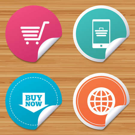 bended: Round stickers or website banners. Online shopping icons. Smartphone, shopping cart, buy now arrow and internet signs. WWW globe symbol. Circle badges with bended corner. Vector