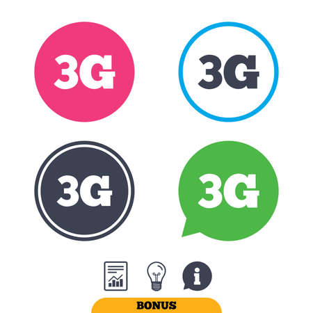 3g: 3G sign icon. Mobile telecommunications technology symbol. Report document, information sign and light bulb icons. Vector