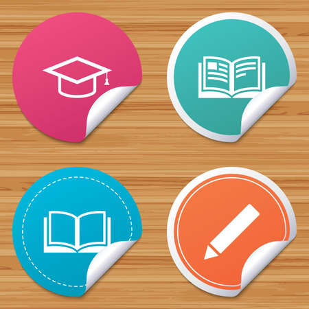 bended: Round stickers or website banners. Pencil and open book icons. Graduation cap symbol. Higher education learn signs. Circle badges with bended corner. Vector Illustration