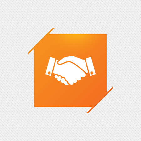 arms trade: Handshake sign icon. Successful business symbol. Orange square label on pattern. Vector