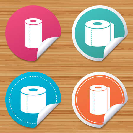 bended: Round stickers or website banners. Toilet paper icons. Kitchen roll towel symbols. WC paper signs. Circle badges with bended corner. Vector