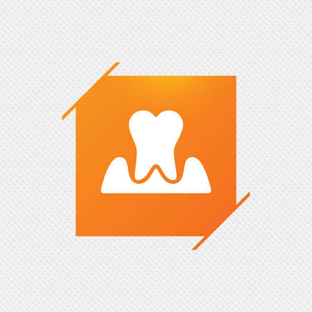 Parodontosis tooth icon. Gingivitis sign. Inflammation of gums symbol. Orange square label on pattern. Vector