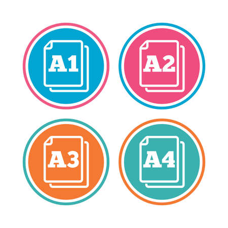 a1: Paper size standard icons. Document symbols. A1, A2, A3 and A4 page signs. Colored circle buttons. Vector Illustration