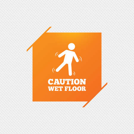 wet floor sign: Caution wet floor sign icon. Human falling symbol. Orange square label on pattern. Vector