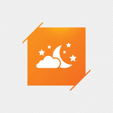 Moon, clouds and stars icon. Sleep dreams symbol. Night or bed time sign. Orange square label on pattern. Vector