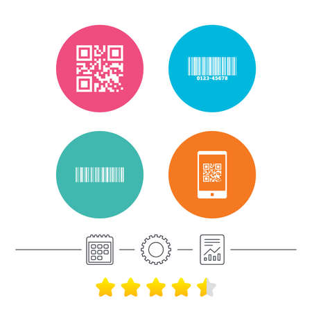 qrcode: Bar and Qr code icons. Scan barcode in smartphone symbols. Calendar, cogwheel and report linear icons. Star vote ranking. Vector Illustration