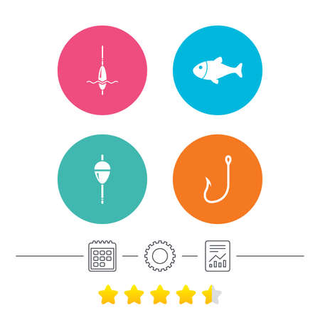 trap: Fishing icons. Fish with fishermen hook sign. Float bobber symbol. Calendar, cogwheel and report linear icons. Star vote ranking. Vector