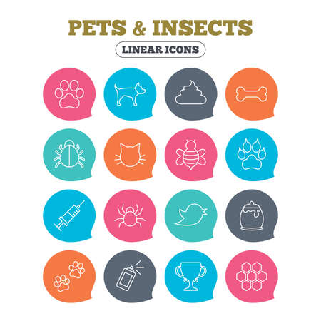 feces: Pets and Insects icons. Dog paw. Cat paw with clutches. Bone, feces excrement and vaccination. Honey, bee and honey comb. Flat speech bubbles with linear icons. Vector