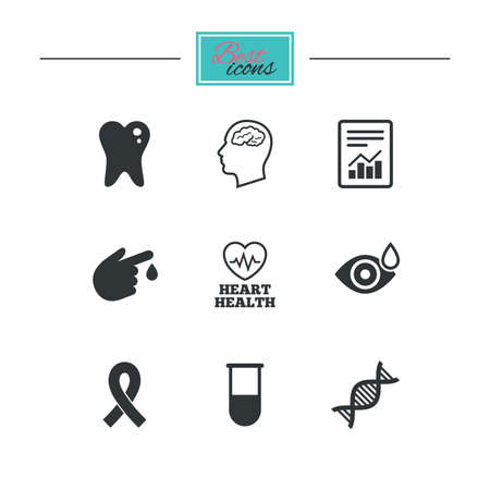 neurology: Medicine, medical health and diagnosis icons. Blood test, dna and neurology signs. Tooth, report symbols. Black flat icons. Classic design. Vector Illustration