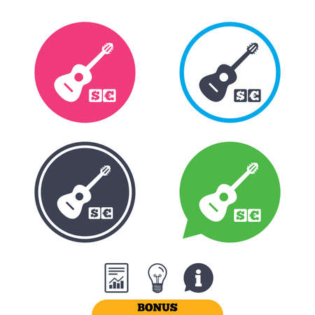 Acoustic guitar sign icon. Paid music symbol. Report document, information sign and light bulb icons. Vector