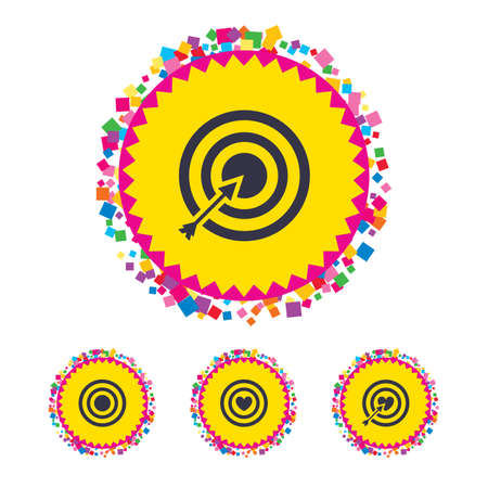 Web buttons with confetti pieces. Target aim icons. Darts board with heart and arrow signs symbols. Bright stylish design. Vector