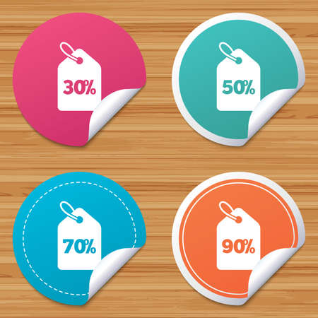 bended: Round stickers or website banners. Sale price tag icons. Discount special offer symbols. 30%, 50%, 70% and 90% percent discount signs. Circle badges with bended corner. Vector