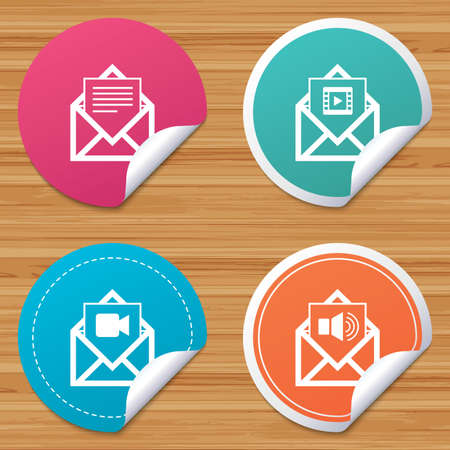 voice mail: Round stickers or website banners. Mail envelope icons. Message document symbols. Video and Audio voice message signs. Circle badges with bended corner. Vector