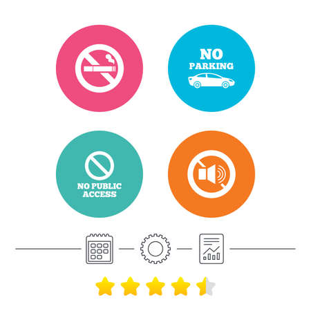 private access: Stop smoking and no sound signs. Private territory parking or public access. Cigarette symbol. Speaker volume. Calendar, cogwheel and report linear icons. Star vote ranking. Vector
