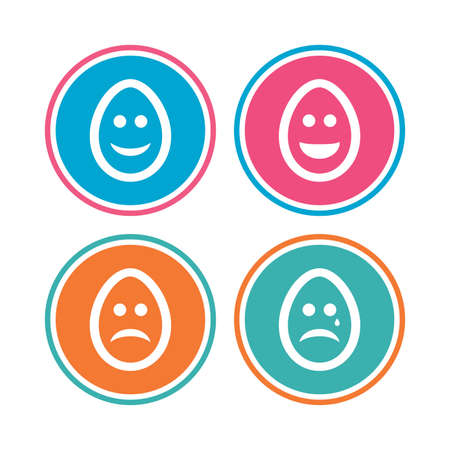 Eggs happy and sad faces icons. Crying smiley with tear symbols. Tradition Easter Pasch signs. Colored circle buttons. Vector