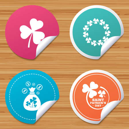 clover banners: Round stickers or website banners. Saint Patrick day icons. Money bag with clover sign. Wreath of trefoil shamrock clovers. Symbol of good luck. Circle badges with bended corner. Vector