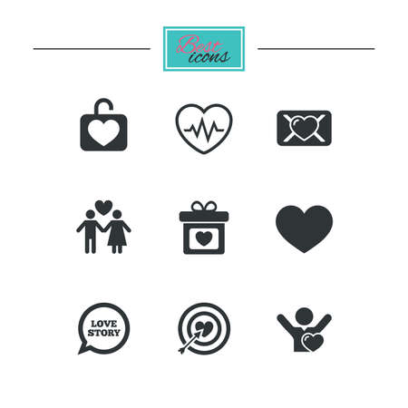 heterosexual: Love, valentine day icons. Target with heart, oath letter and locker symbols. Couple lovers, heartbeat signs. Black flat icons. Classic design. Vector