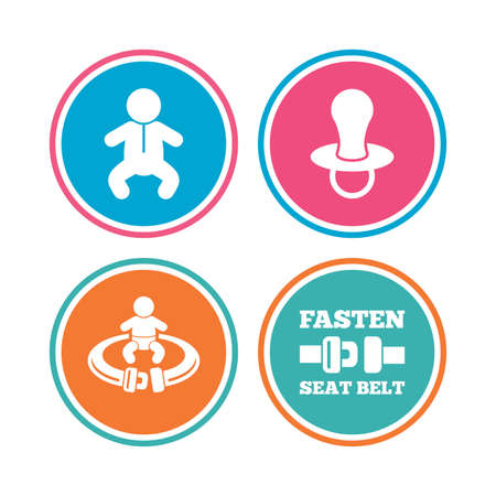 baby toilet seat: Baby infants icons. Toddler boy with diapers symbol. Fasten seat belt signs. Child pacifier and pram stroller. Colored circle buttons. Vector Illustration