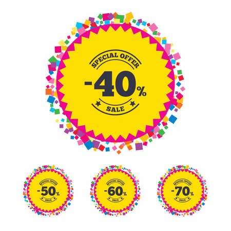 Web buttons with confetti pieces. Sale discount icons. Special offer stamp price signs. 40, 50, 60 and 70 percent off reduction symbols. Bright stylish design. Vector